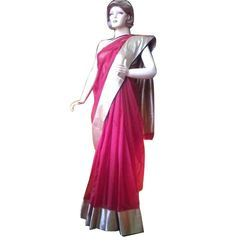 Plain Pink Saree