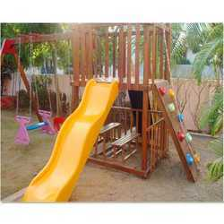 Wooden Castle (Playground Equipment Wave Slide)
