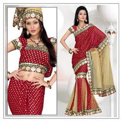 Rich Maroon Viscose Lahenga Style Saree With Blouse (195)