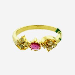 Indian Diamond Ring With Ruby