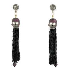 Designer Tassel Gemstone Earrings