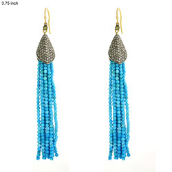 Turquoise Beads Diamond Tassel Earrings