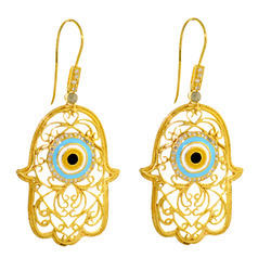 14k yellow gold Hamsa Diamond Earrings