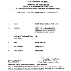 Certificate of Import Export Code