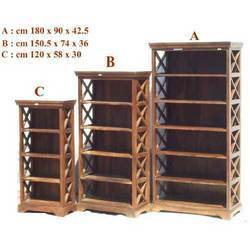 Bookcase with Cross Wooden Mesh