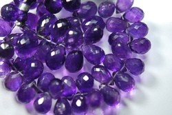 Purple Amethyst Faceted Drops Briolettes