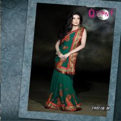 Fascinating Rama Green Saree
