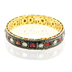 18k Gold Rose Cut Diamond Bangles