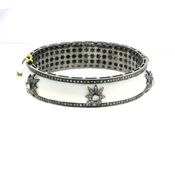 White Enamel Diamond Bangles