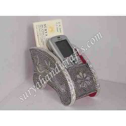 White Metal Card Holder and Mobile Stand with Leckar On It