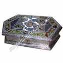 white metal jewellery meena box