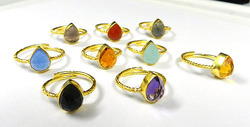 Bezel setting silver gemstone rings