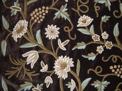 Crewel Fabric Grapes Turkish Coffee Cotton Velvet