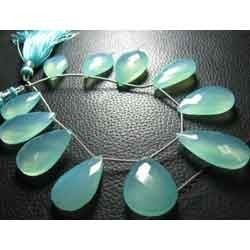 Aqua Chalcedony Faceted Large Pear Briolettes