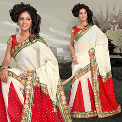 Off White Viscose Lehenga Style Saree With Blouse