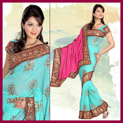 Aqua Georgette Saree With Blouse (158)