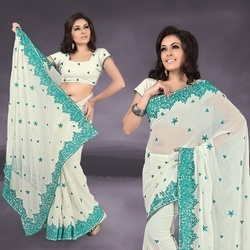 Light Cream Faux Georgette Saree With Blouse