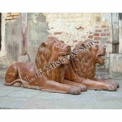 Wood Carved Lions