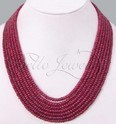 Handcrafted 7 Strand African Cabochon Ruby Beaded Necklace
