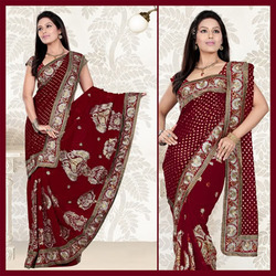 Maroon Faux Georgette Saree With Blouse (105)