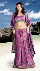 Lush Bluish Purple & Brick Red Lehenga Choli