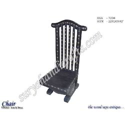 wooden brass iron chair