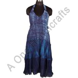 Fashionable Hand Tie Dyed Cotton Fabric Dress