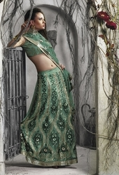 Sareegalaxy - Teal Faux Georgette Lehenga Style Saree With Blouse