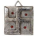 beaded swastika- white metal sculpture