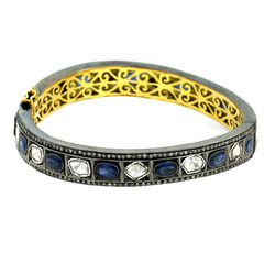 Pave Rose Cut Diamond Gemstone Sapphire Gold Bangle Jewelry