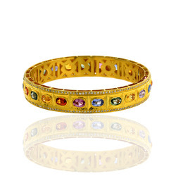 18K Gold Gemstone Bangle Jewelry