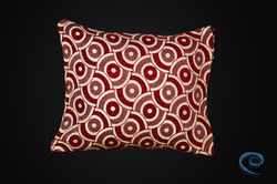 Designer Cream Cushion Cover with Red Circular Pattern