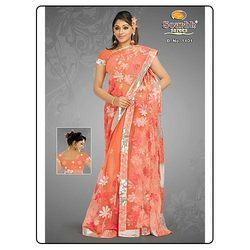 Orange Net Saree