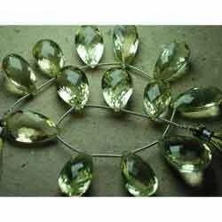 Light New Lemon Quartz Faceted Pear - Cut Stone Briolettes