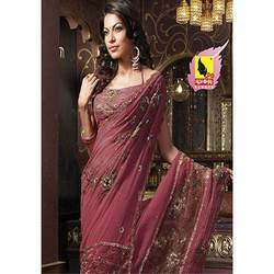 Brick Color Saree