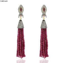 Designer Ruby Tassel Earrings