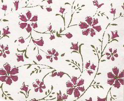 Floral Design Wood Block Printed Papers For Gift Wrapping