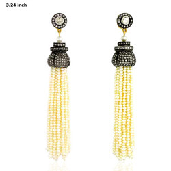 Designer Natural Pearl Tassel Earrings