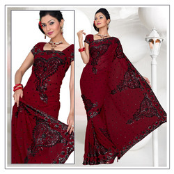 Maroon Faux Georgette Saree With Blouse (203)
