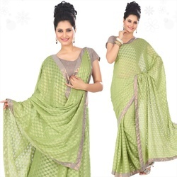 Parrot Green Viscose Saree With Blouse