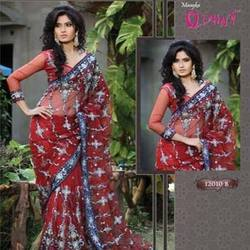 Red Net Based Saree