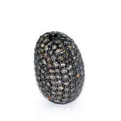 Pave Diamond Silver Beads