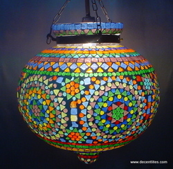 Glass Mosaic Hanging Lamp