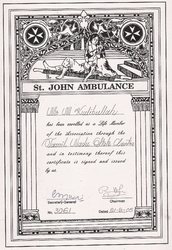 Life Membership Certificate from St. John Ambulance