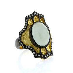 Aquamarine pave diamond gold ring