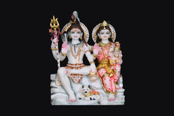 Marble Shiv Parvati and Ganesh Ji Idols