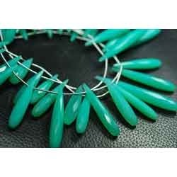 Turquoise Chalcedony Faceted Long Drops Briolettes