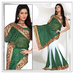 Deep Green Viscose Lehenga Saree With Blouse (197)