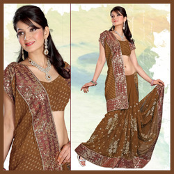 Urbane Fawn Faux Georgette Saree With Blouse (165)