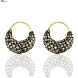 Designer Pave Huggie Hoop Earrings